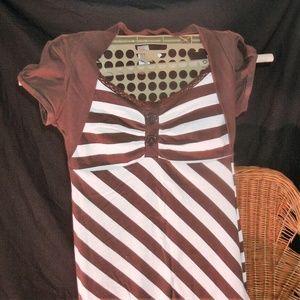 #23 Brown n white Striped Top
